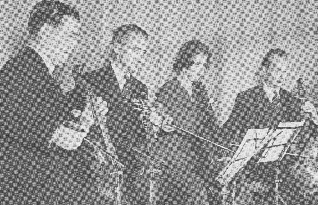 FLTR: Harry Danks (treble viol) Stanley Wootton (treble viol) Jacqueline Townshend (tenor viol) Desmond Dupré (tenor viol) ]