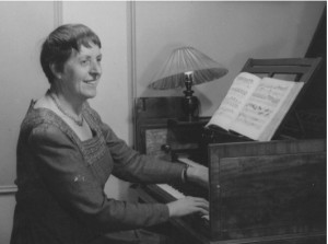 Mary Potts c.1950 at her Shudi harpsichord